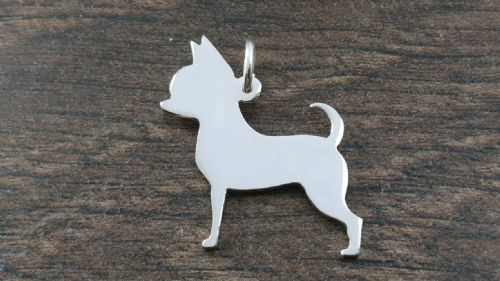 Chihuahua dog Charm silhouette solid sterling silver Handmade in the Uk